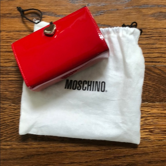 730b79d89c Moschino Bags | Red With Heart Closure Patent Mini Clutch | Poshmark